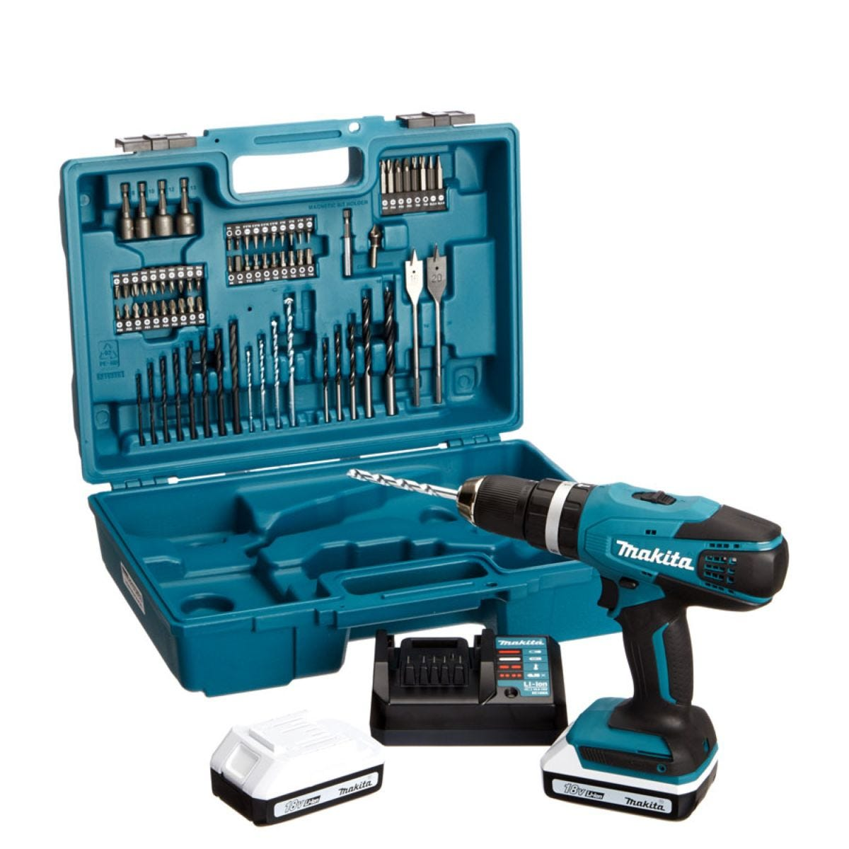Makita G-Series 18V 2 X 1.5Ah Li-Ion Cordless Combi Drill with 74 Accessories