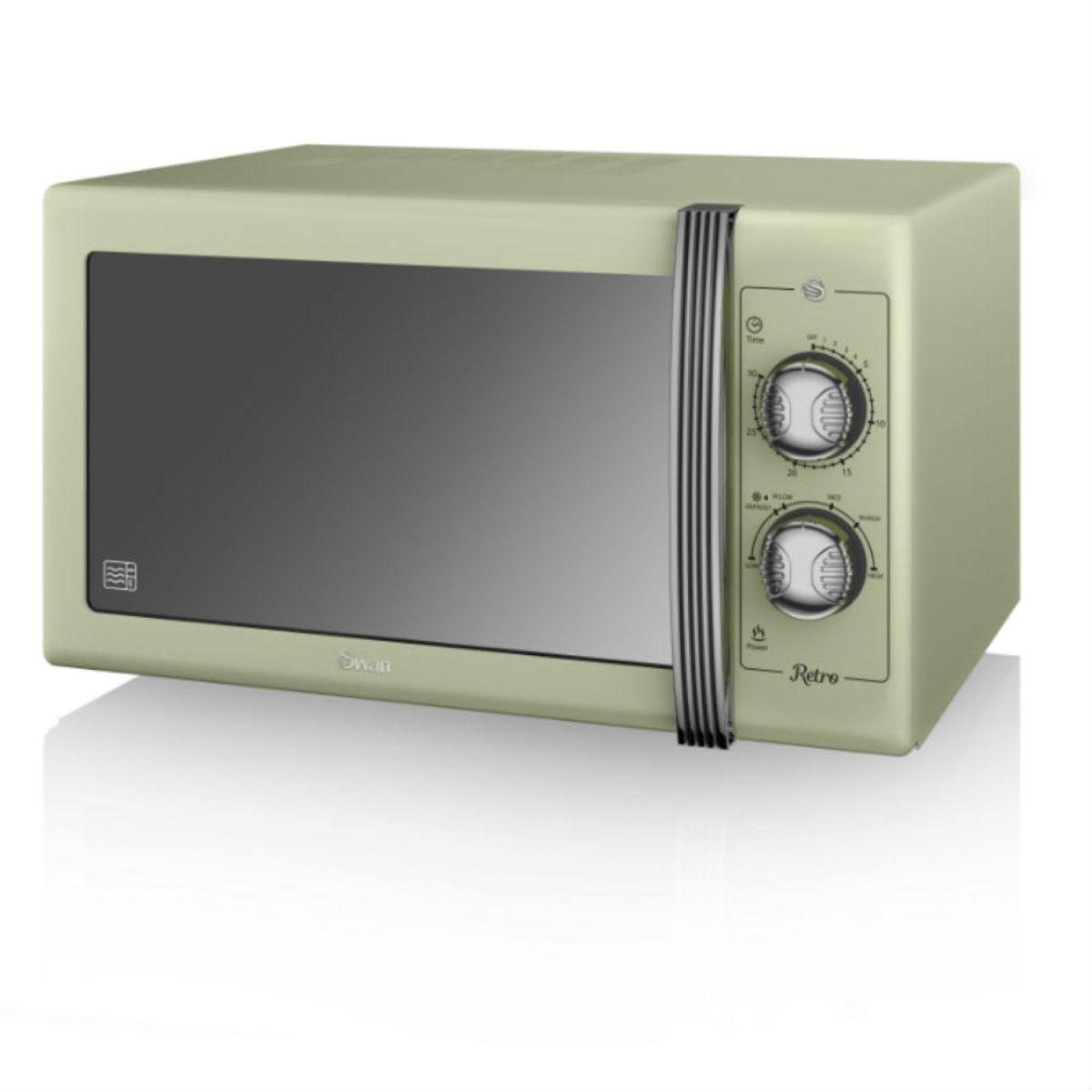 Swan Retro 900W 25L Manual Solo Microwave - Green