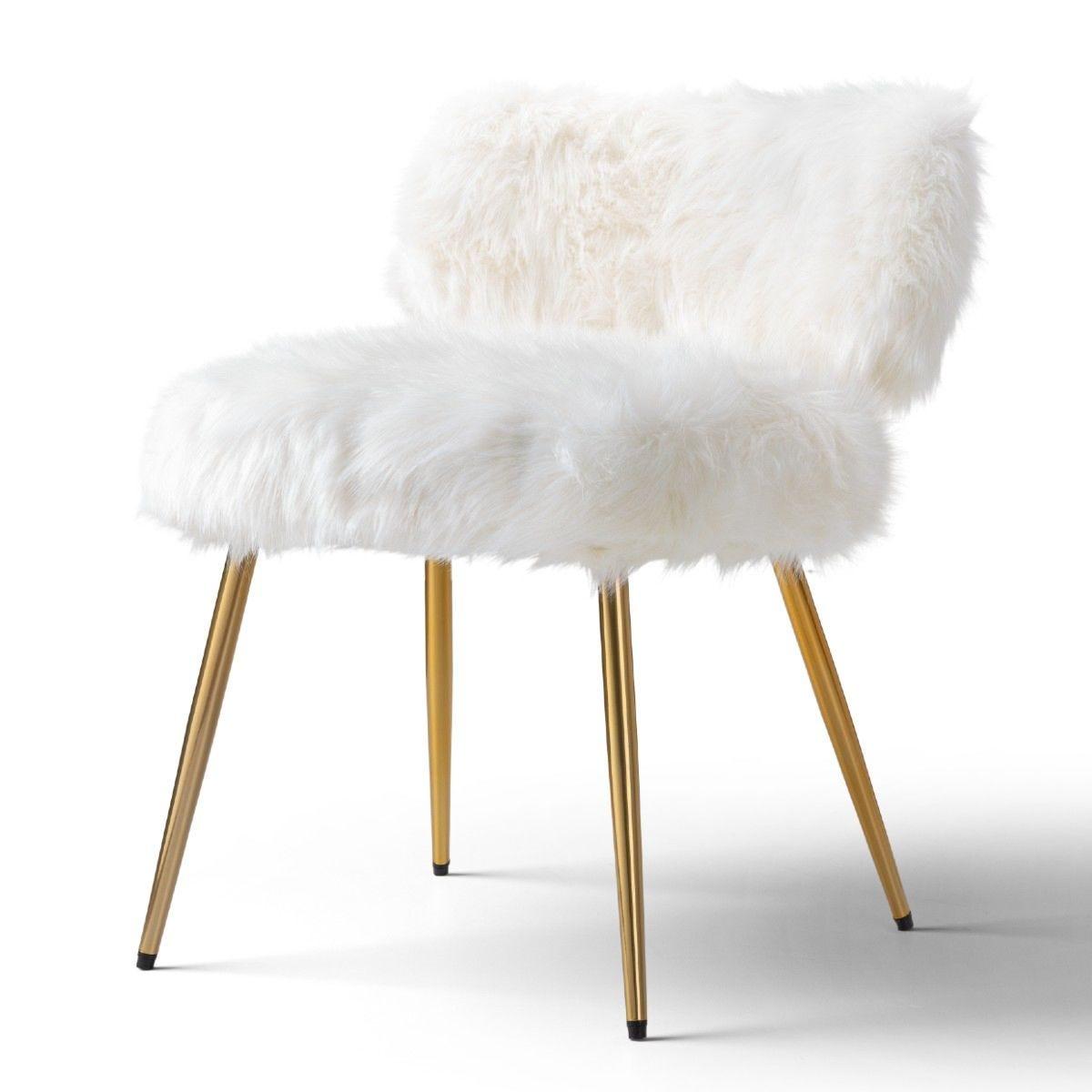 Molly Accent Chair Faux Fur White Gold Legs Robert Dyas