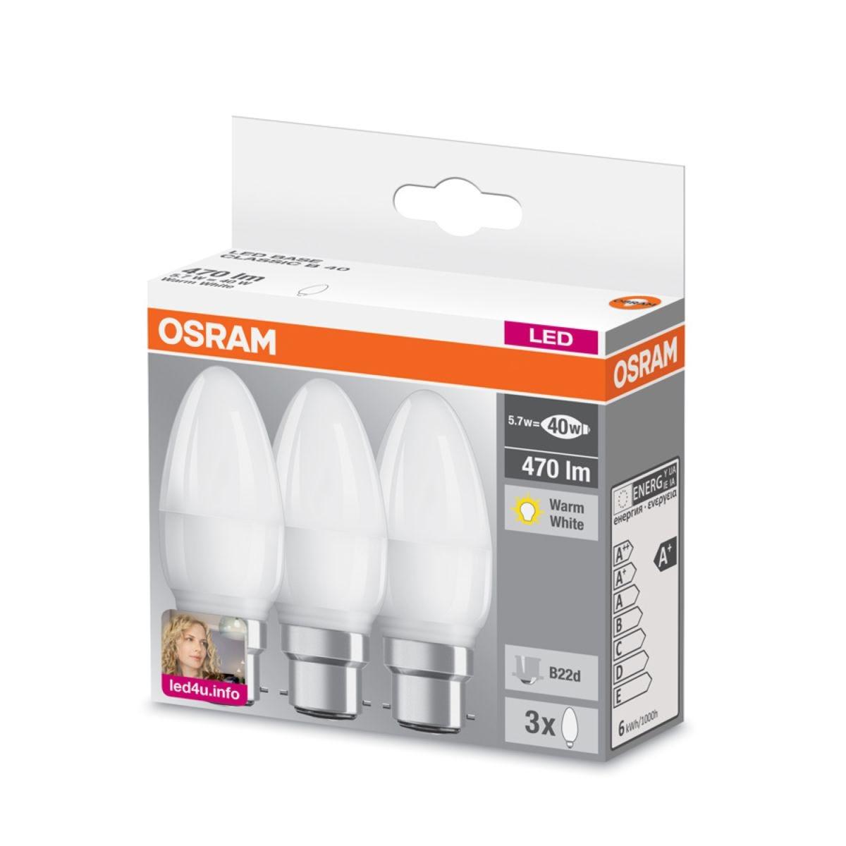 Osram LED Candle 40W BC Light Bulbs