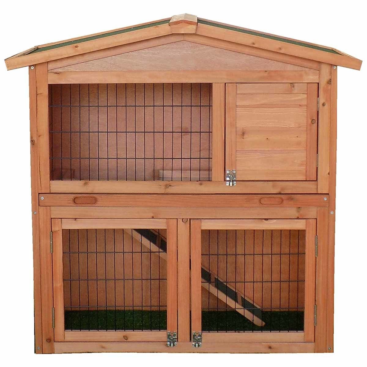 Charles Bentley FSC Two Storey Rabbit Hutch with Play Area - Natural Wood