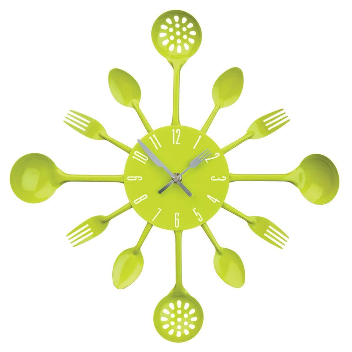 Cutlery Wall Clock - Lime Green