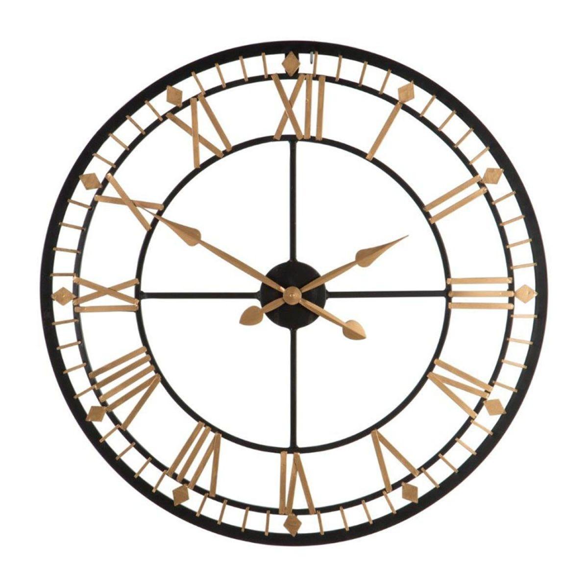 Metal Wall Clock - Black and Gold