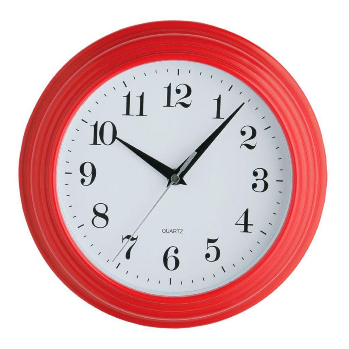 Vintage Plastic Wall Clock - Red