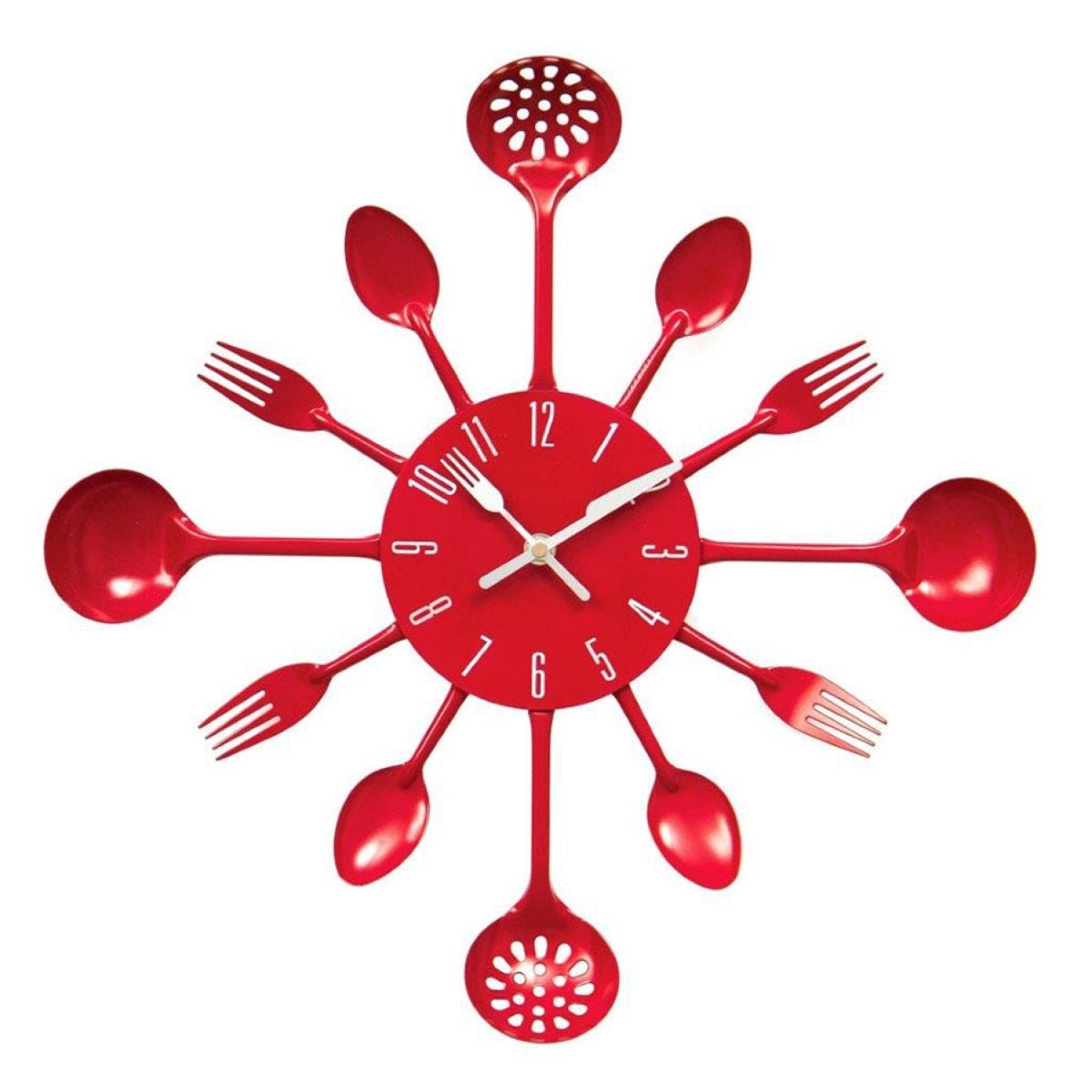 Cutlery Metal Wall Clock - Red