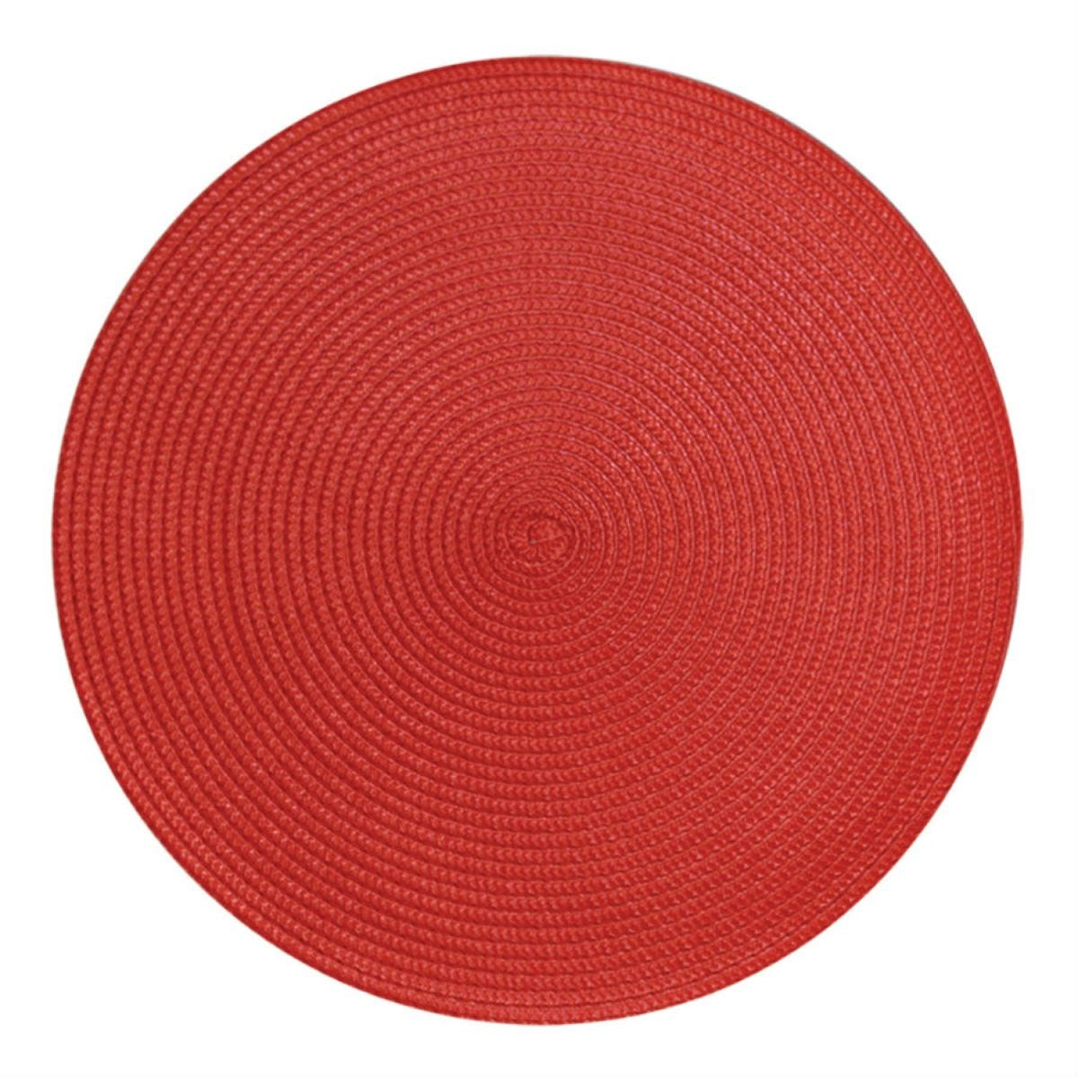 Round Woven Placemat - Red