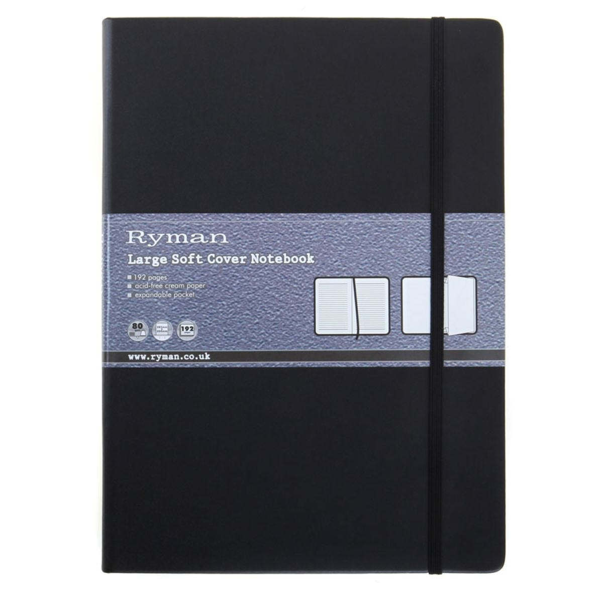 Ryman Large Soft Cover Notebook - Black
