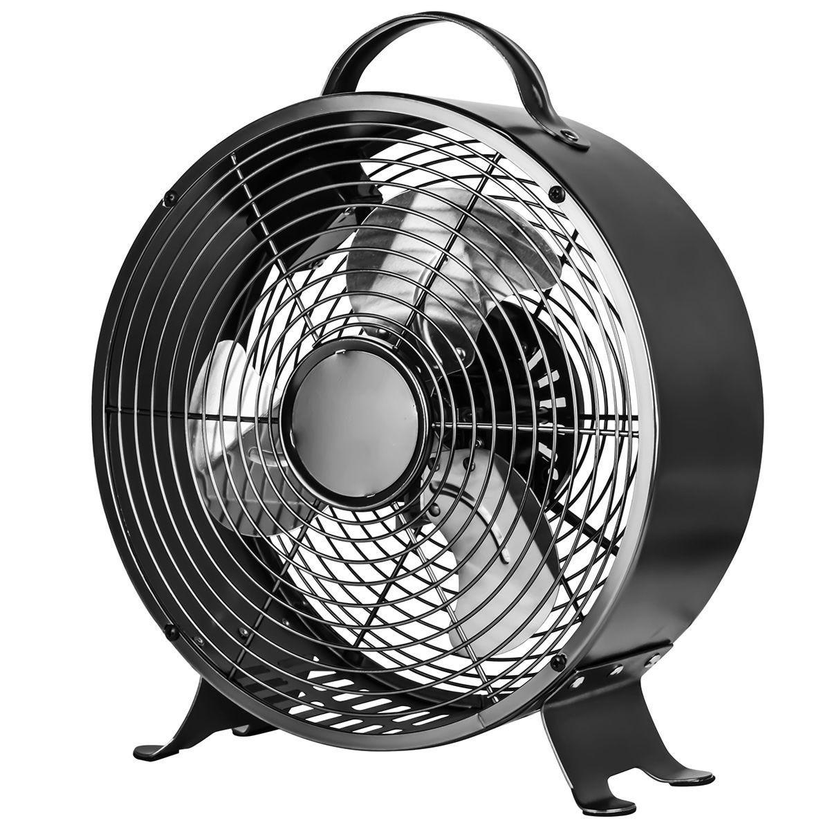 Status 8 Inch Retro Clock Shape Fan - Black