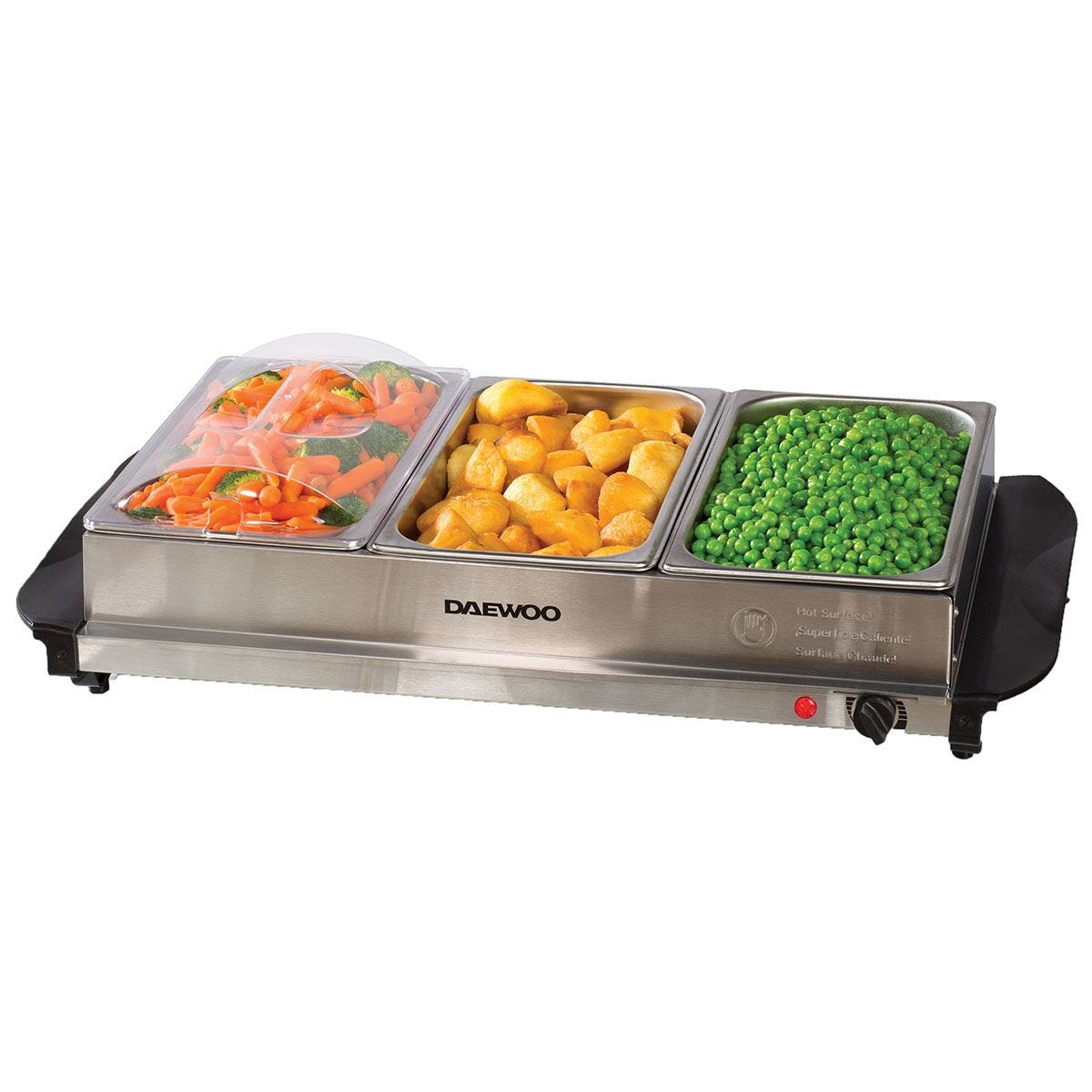 Daewoo SDA1445 Large Buffet Server 300W Food Warmer – Stainless Steel