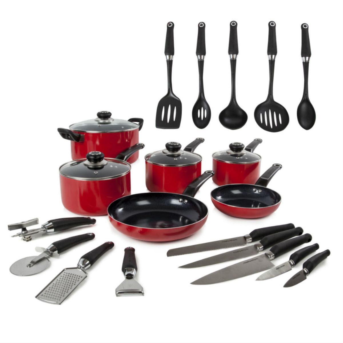 Morphy Richards 6-Piece Non-Stick Pan Set with 5 Knives and 4 Tools - Red