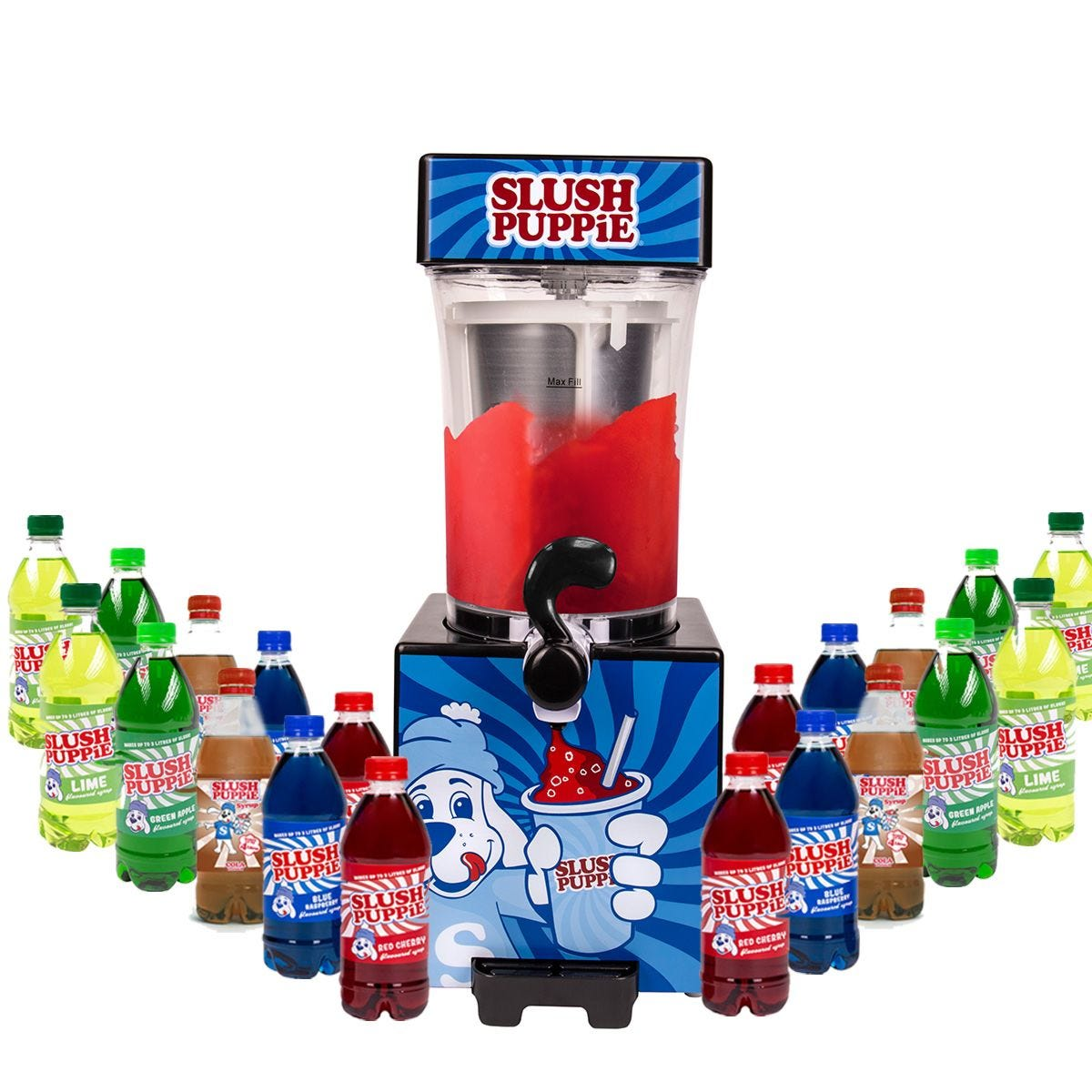 Slush Puppie with Twenty Syrups - Blue Raspberry, Green Apple, Cola, Lime and Cherry