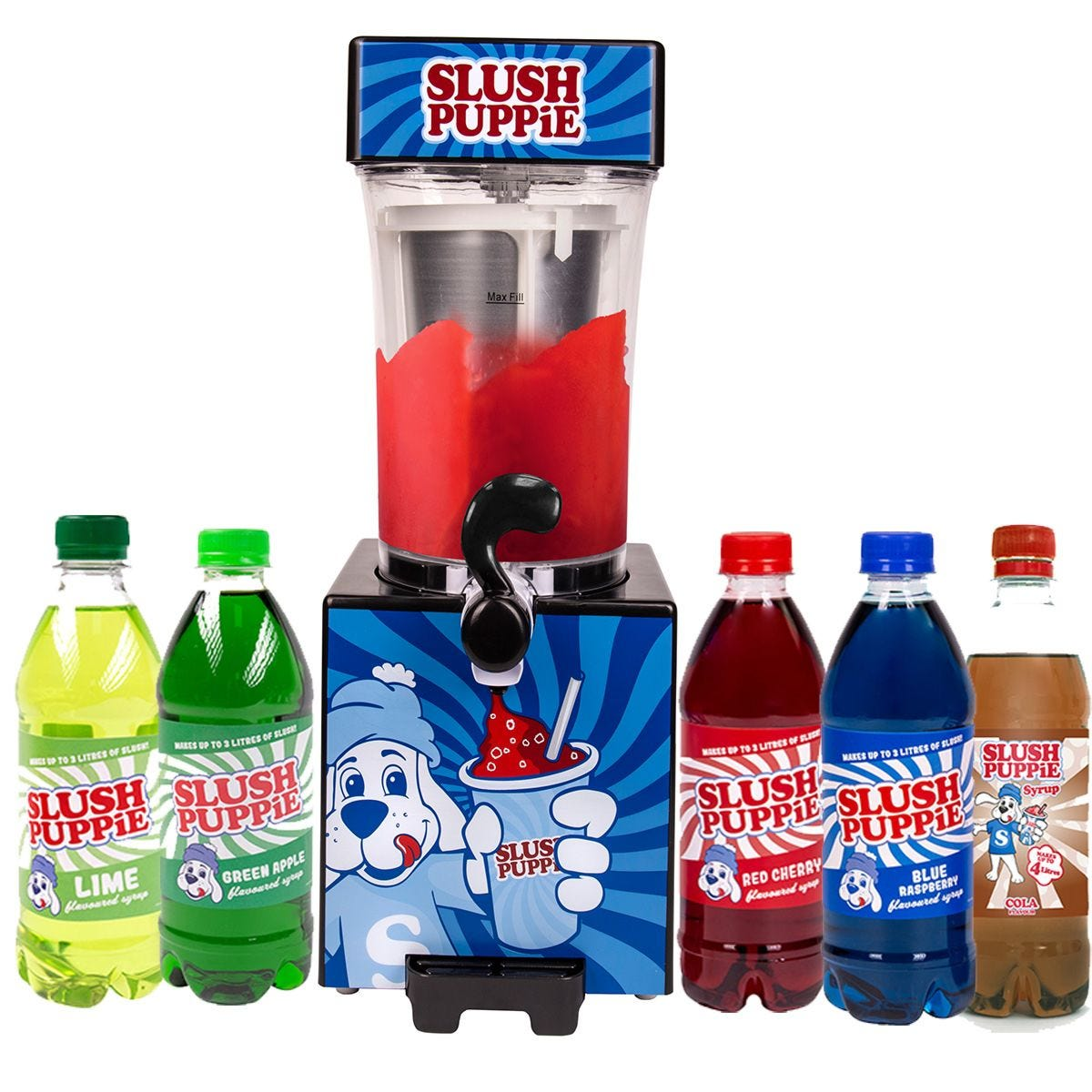 Slush Puppie with Five Syrups - Blue Raspberry, Green Apple, Cola, Lime and Cherry