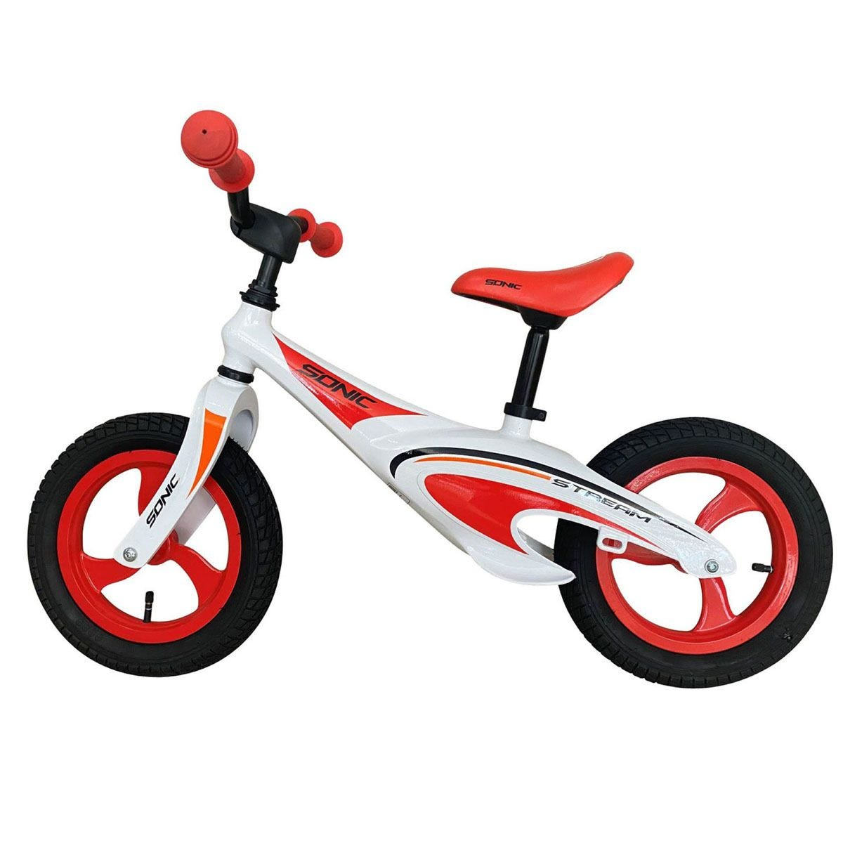 Sonic Stream Childs Lightweight  Balance Bike with Air Tyre - Red