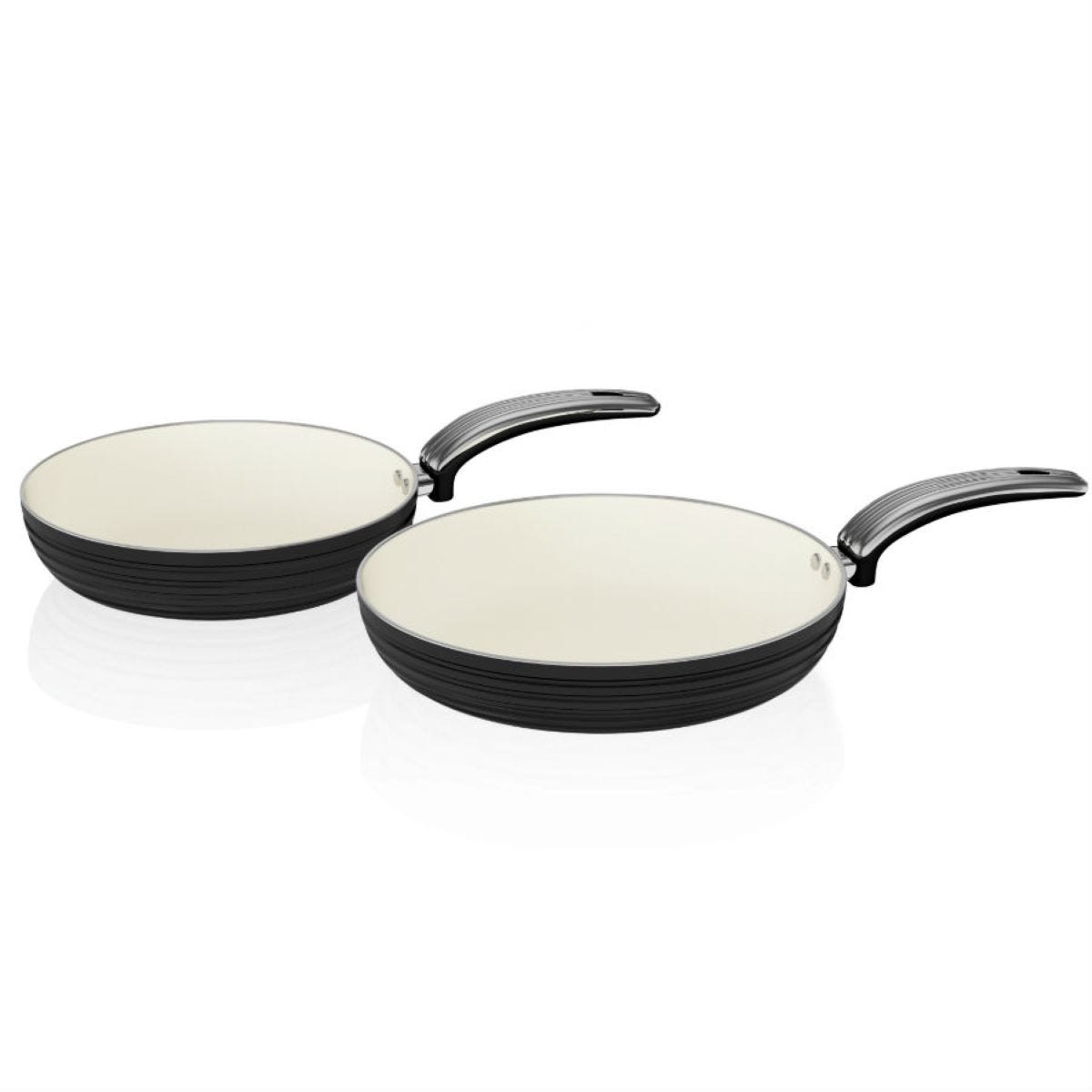 Swan Retro 2 Piece Frying Pan Set - Black