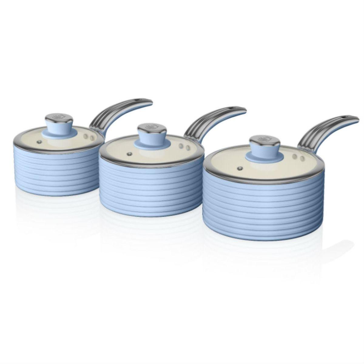 Swan Retro 3 Piece Saucepan Set – Blue