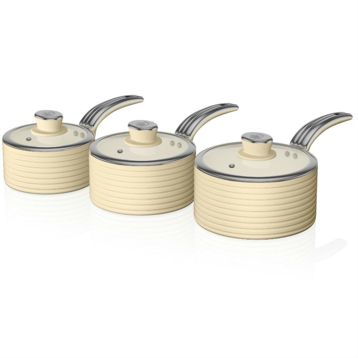 Swan Retro 3 Piece Saucepan Set – Cream