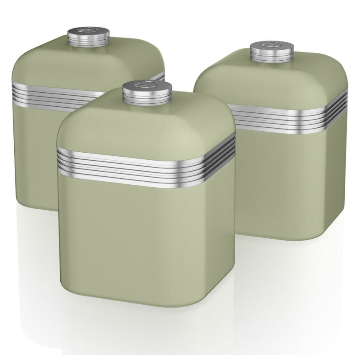 Swan Retro Set Of 3 Canisters - Green