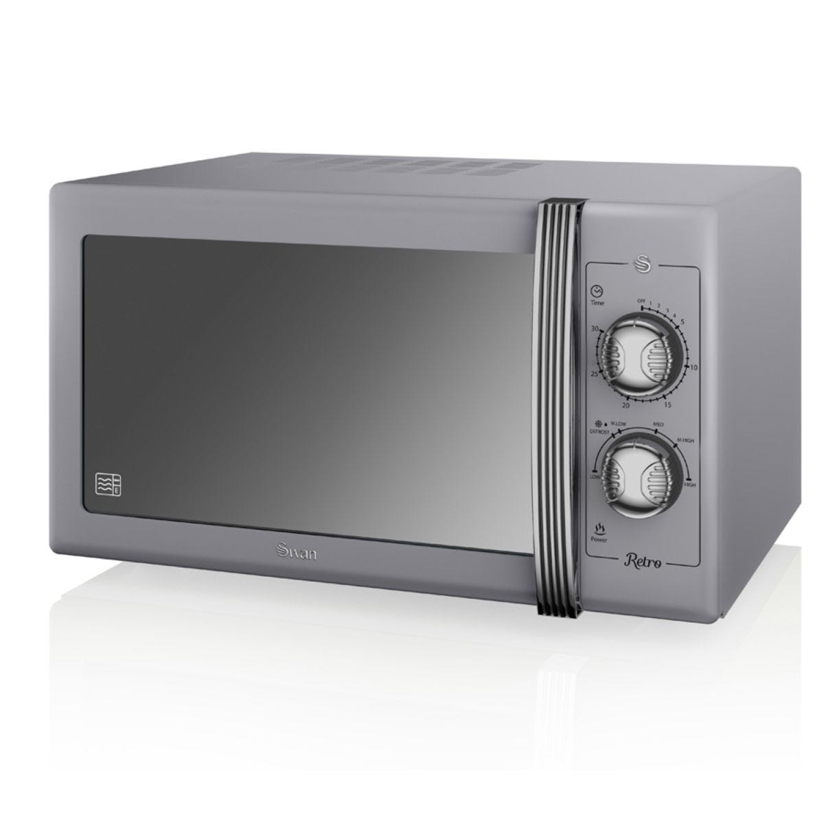 Swan Retro 900W 25L Manual Solo Microwave - Grey