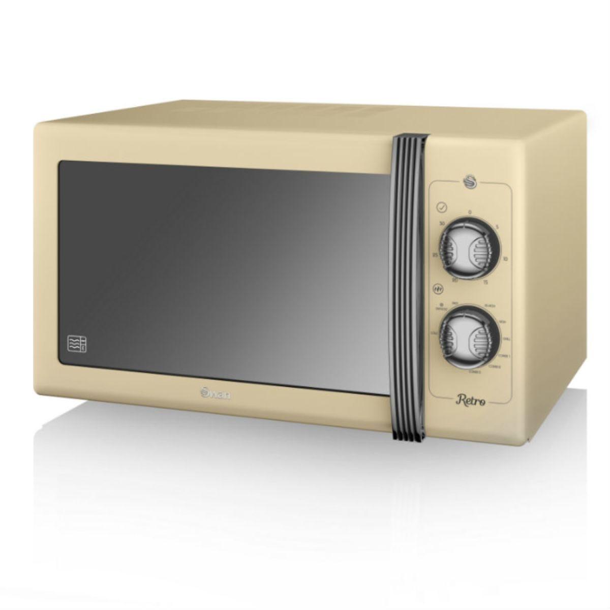 Swan Retro 900W 25L Manual Solo Microwave - Cream
