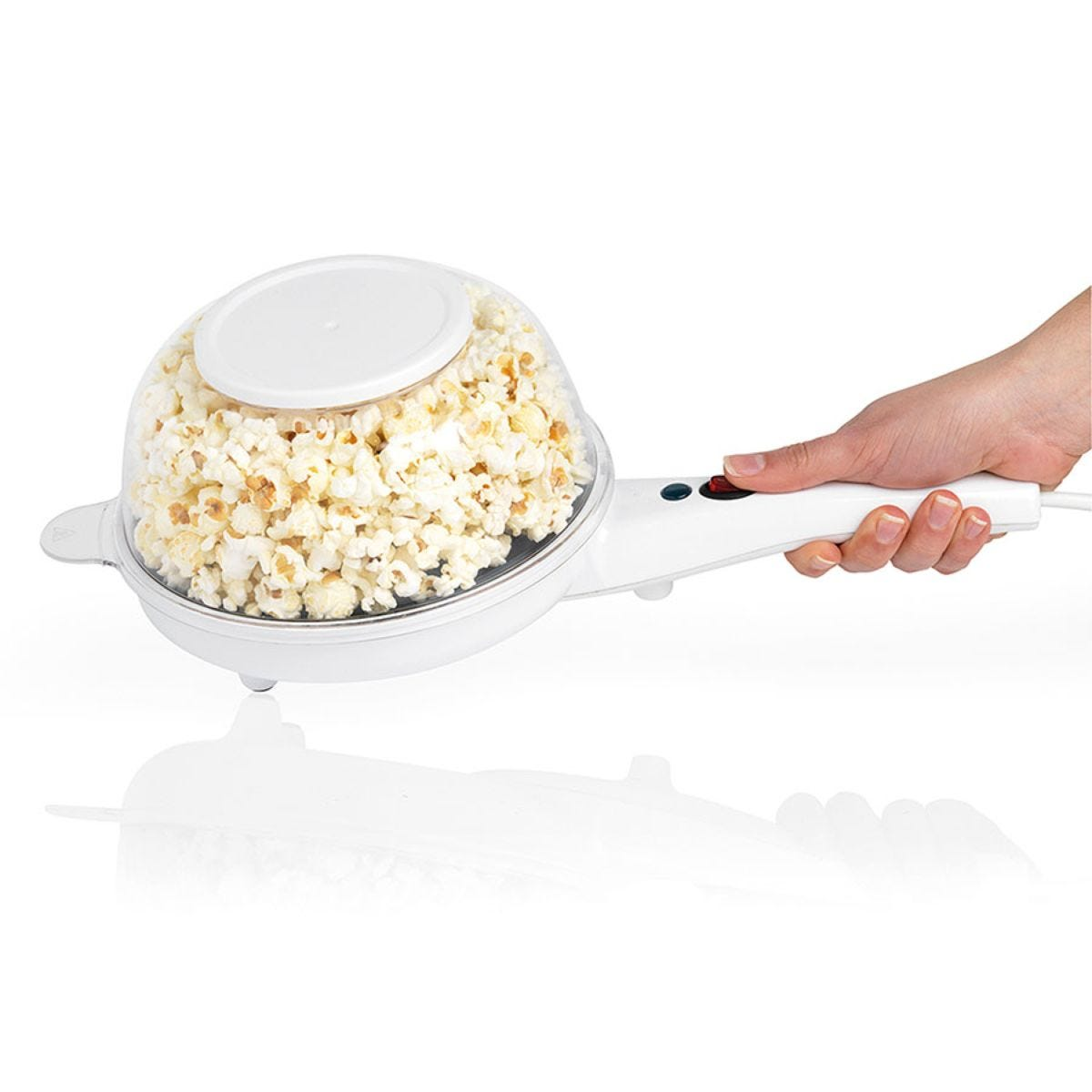 Giles & Posner EK2204 Healthy Fat Free Electric Popcorn Maker with Bowl - White
