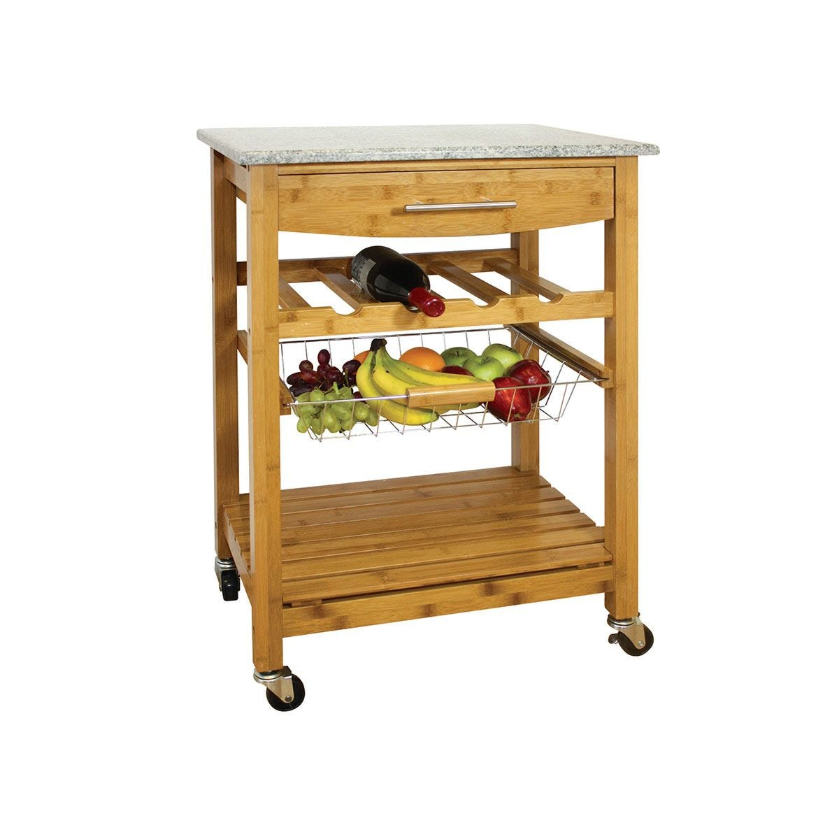 Robert Dyas Bamboo Kitchen Trolley with Granite Top - Brown