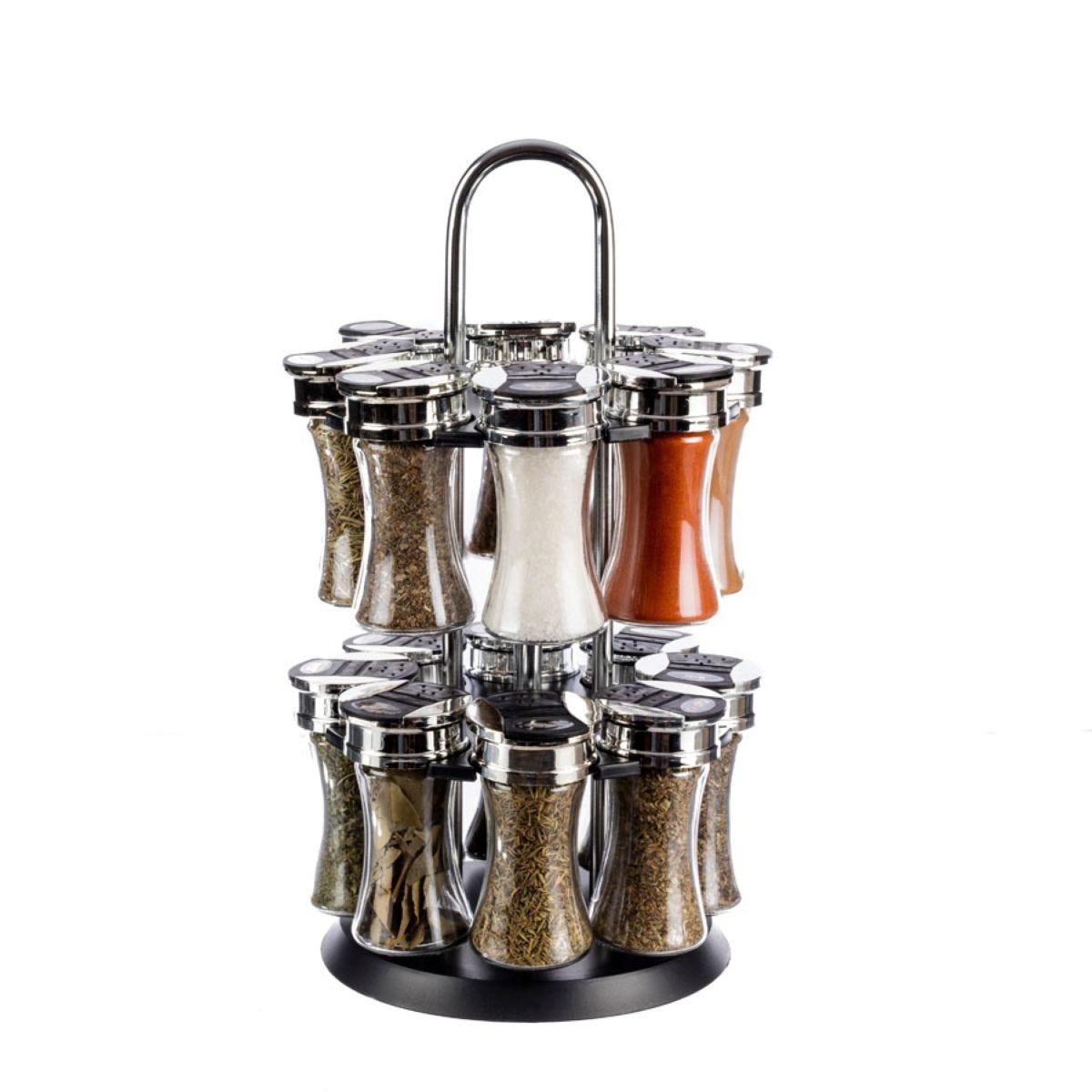 16 Jar Spice Rack - Silver