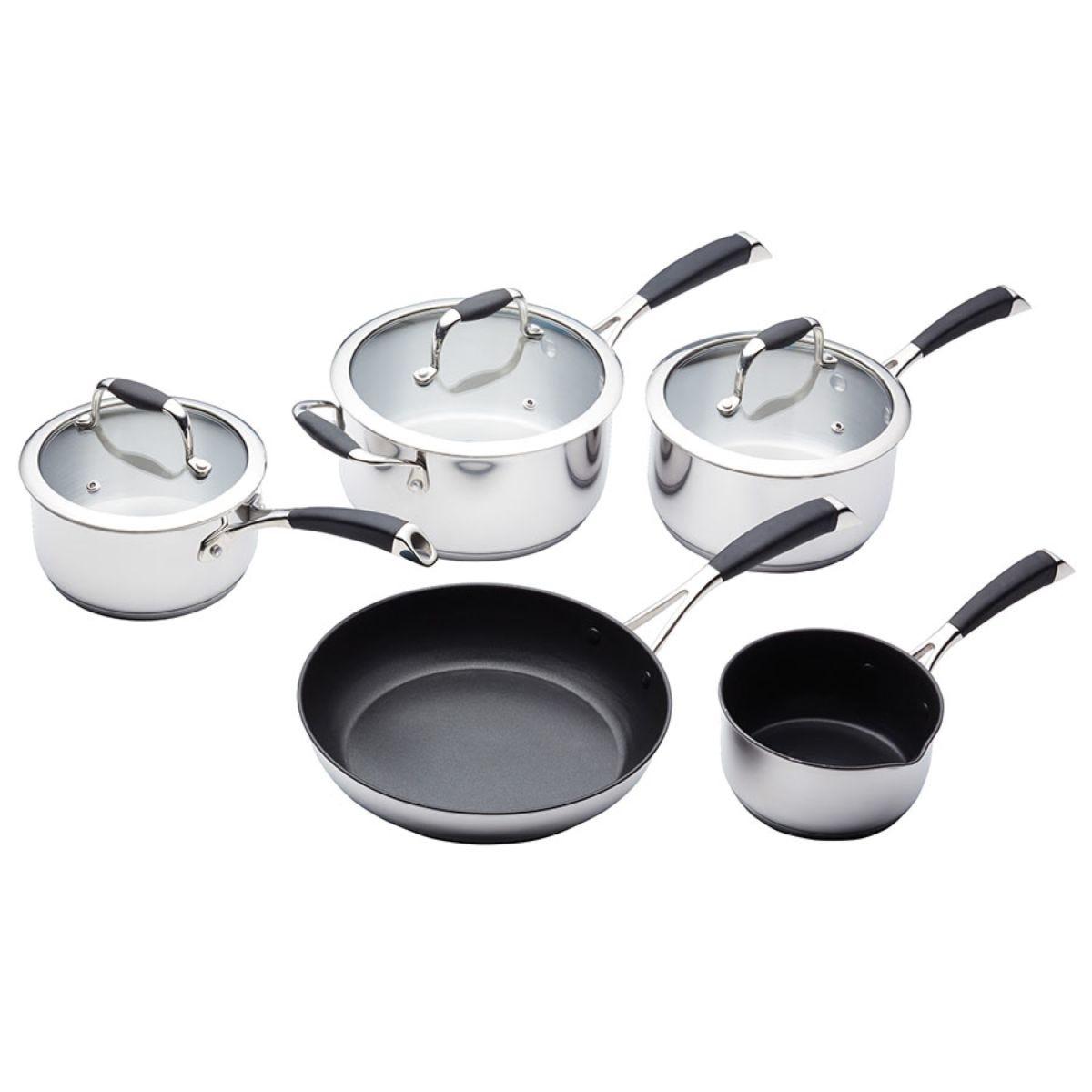 MasterClass Stainless Steel Cookware Pan Set - 5 Piece