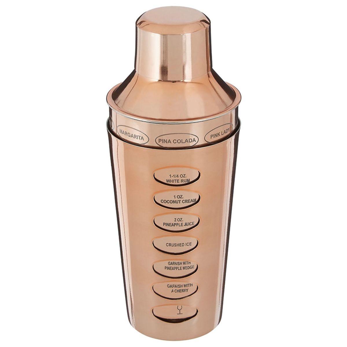Premier Housewares 500ml Recipe Cocktail Shaker - Rose Gold