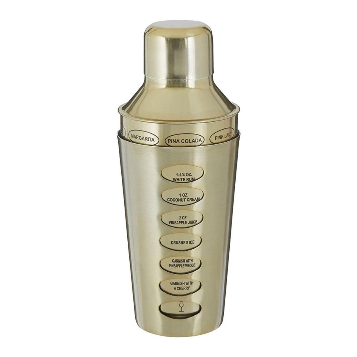 Premier Housewares Recipe Cocktail Shaker - Brass
