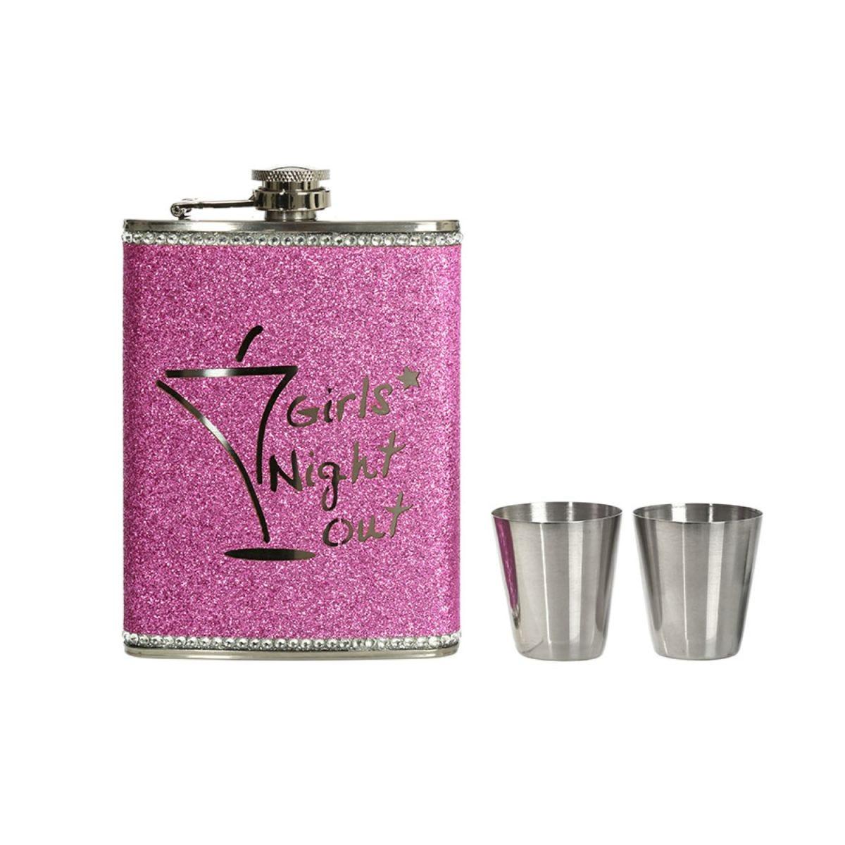 Premier Housewares Stainless Steel Hip Flask Set - Pink