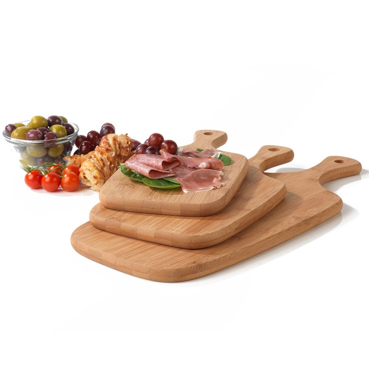 Salter 3-Piece Bamboo Paddle Chopping Board Set - Brown