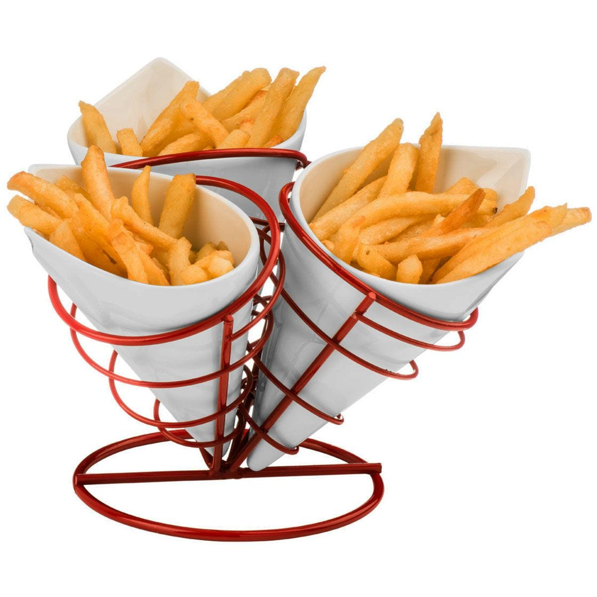 Premier Housewares 3-Cone French Fries Stand Set - Red