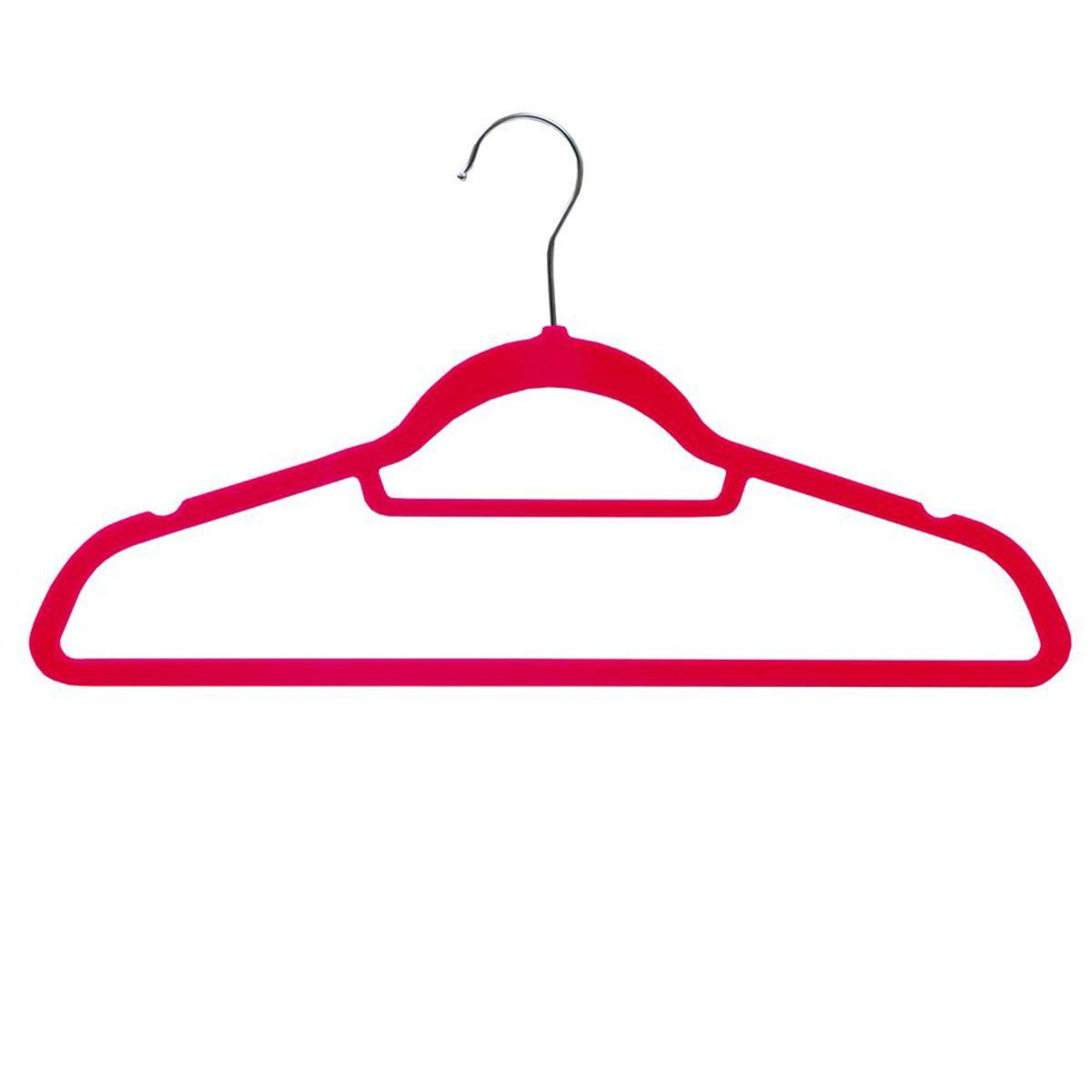 JVL Pink Velvet Non-Slip Coat Hangers - Pack of 50