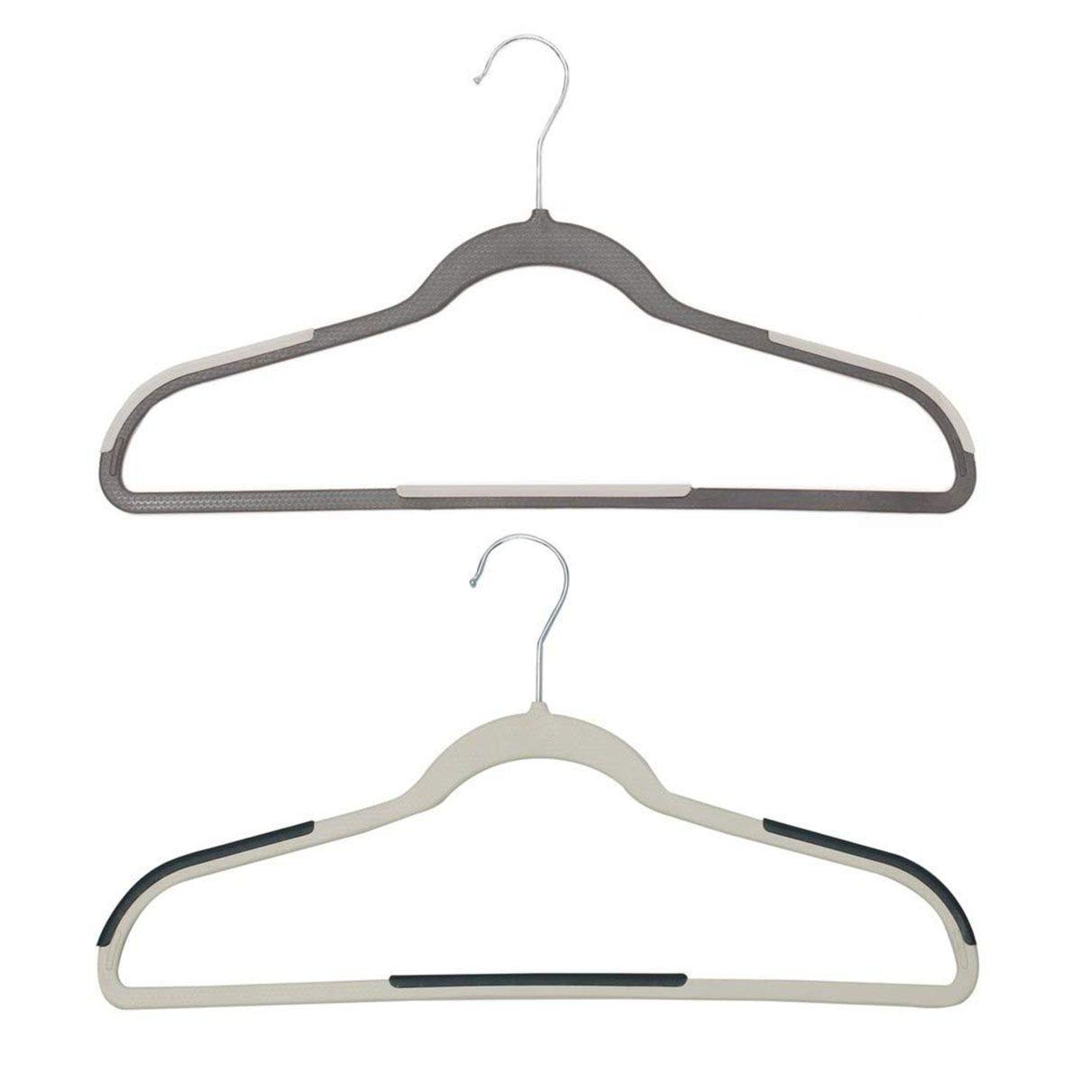 JVL Grey & White Plastic Space Saving Coat Hangers - Pack of 60