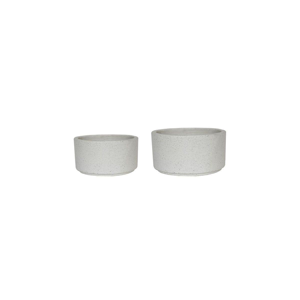 Ivyline Catania Terrazzo Set of 2 Cylinder Bowls - White