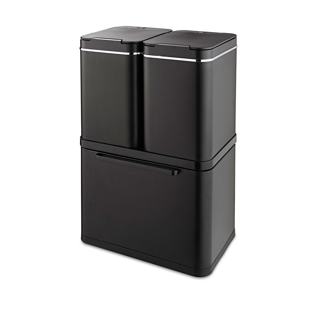 Tower 100L Stacked Sensor Recycling Bin - Black