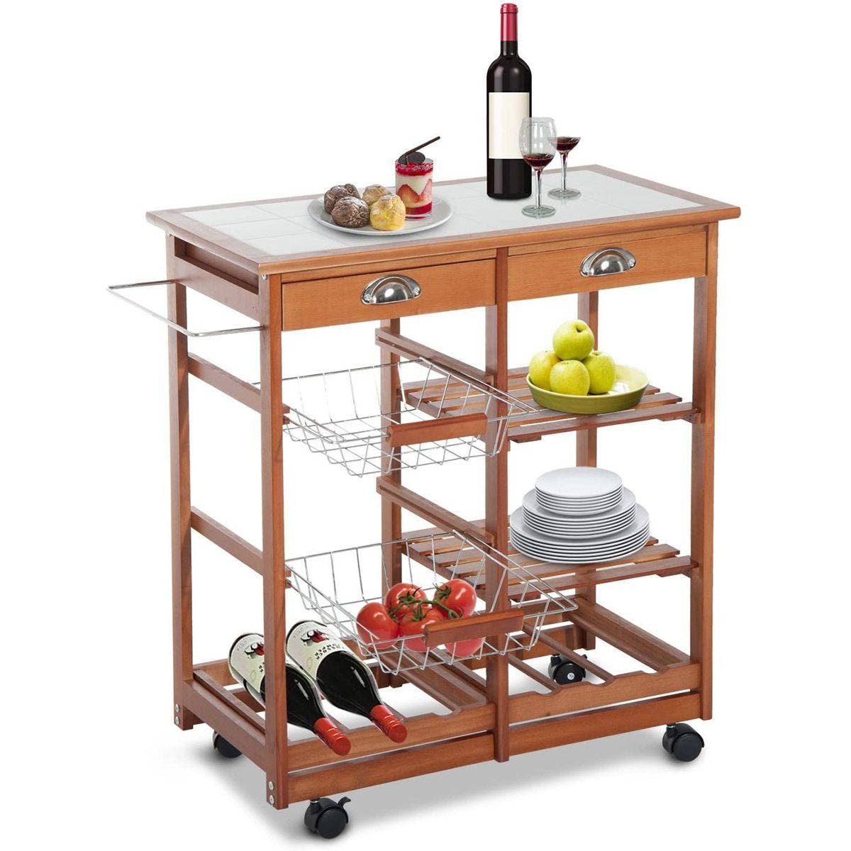 Wooden Kitchen Trolley Cart Drawers, 3 Shelves