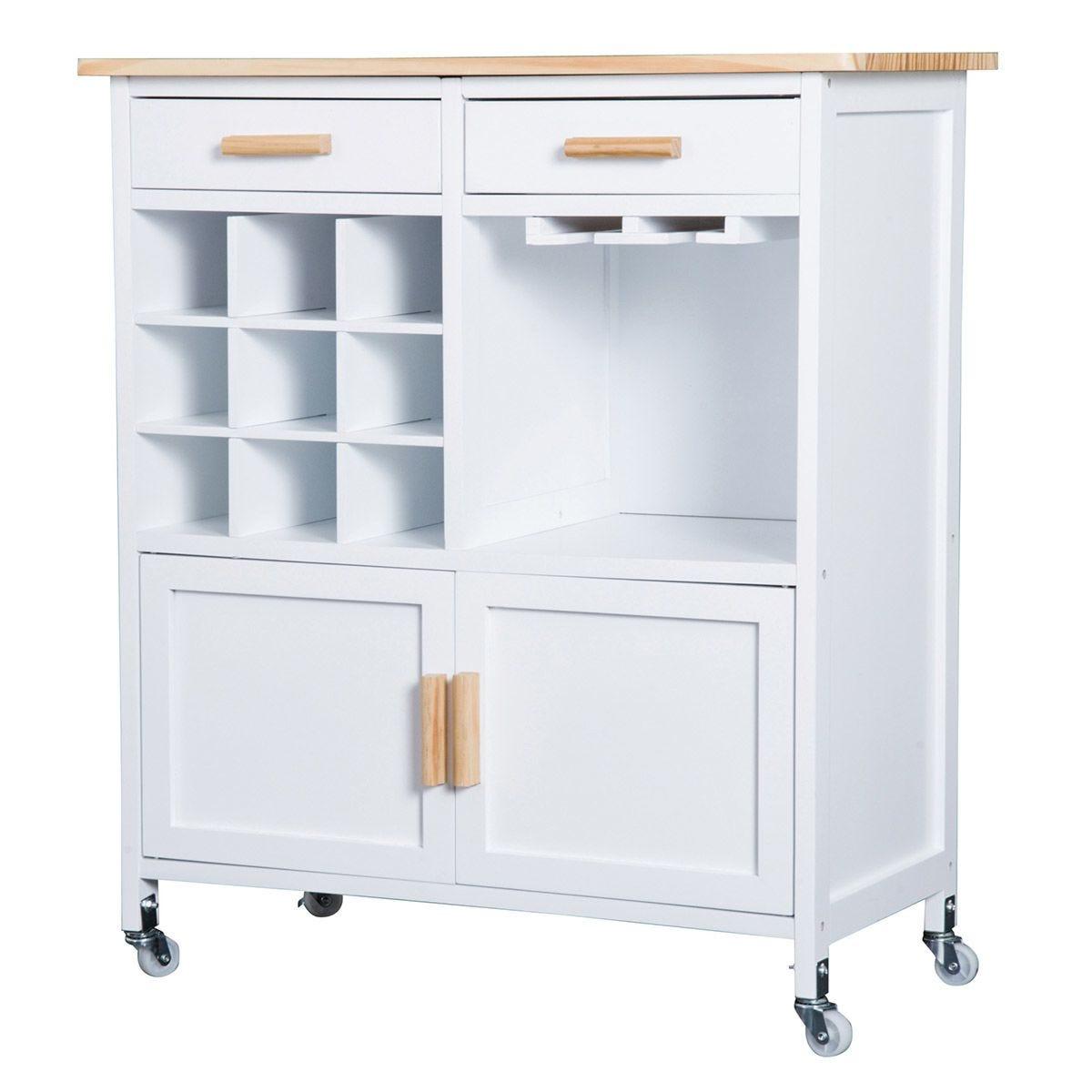 Rolling Kitchen Cart Island - White
