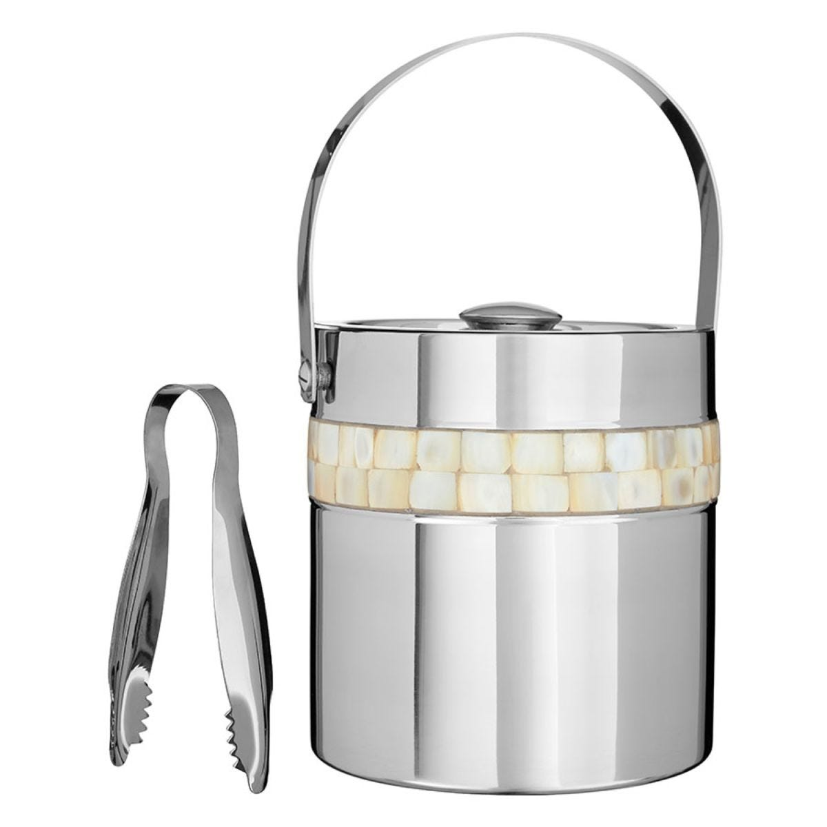 Premier Housewares Mother of Pearl Ice Bucket - Stainless Steel