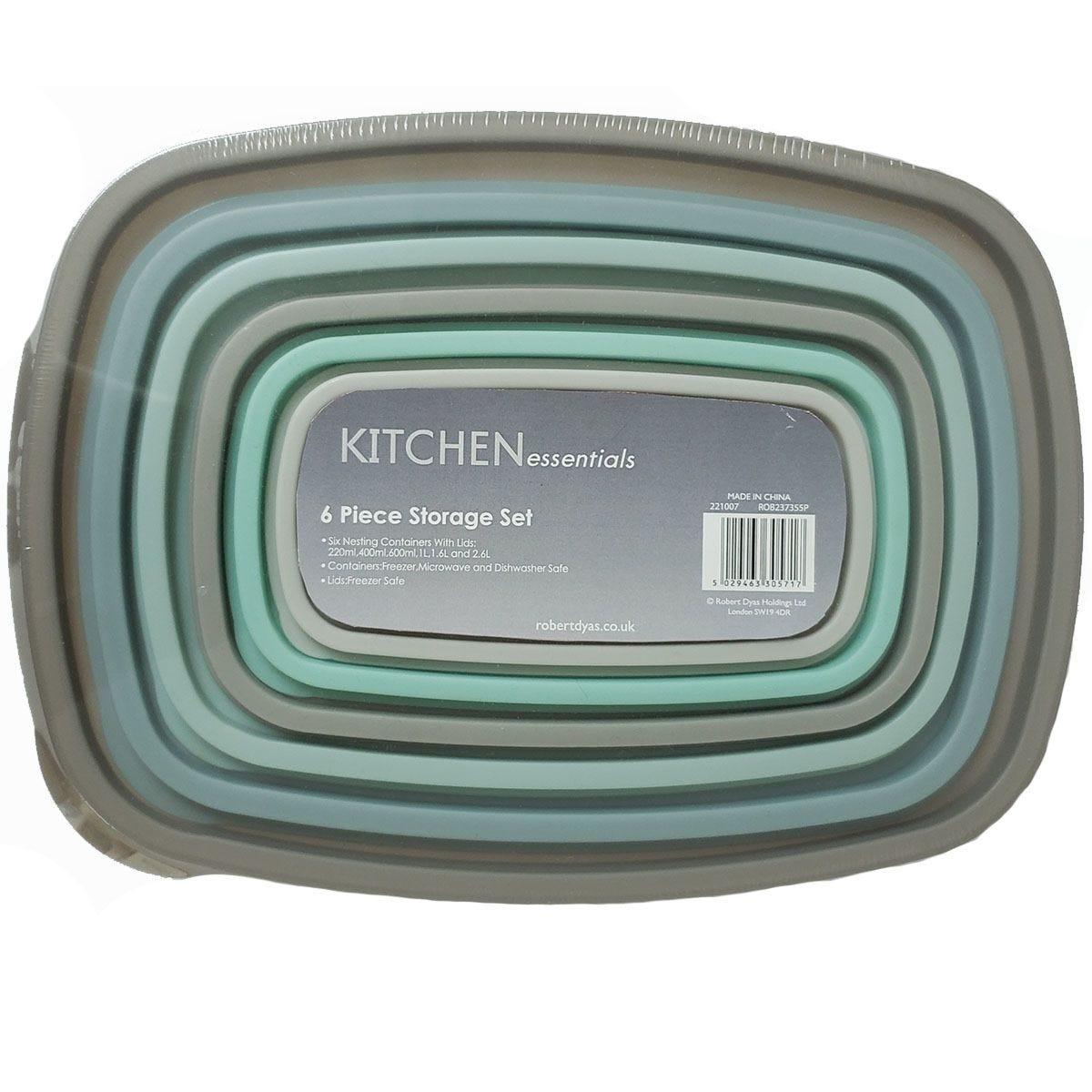 Kitchen Essentials 6-Piece Storage Set - Grey