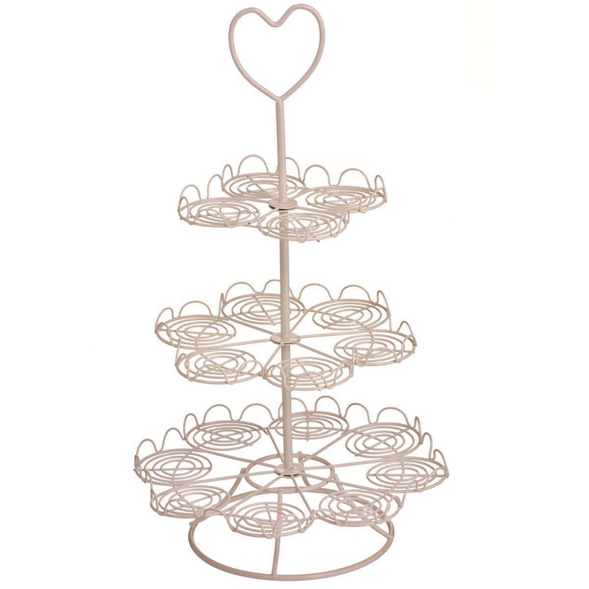 Premier Housewares 3 Tier Cupcake Stand - Cream