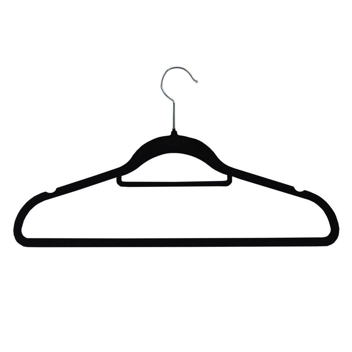 JVL Black Velvet Non-Slip Coat Hangers - Pack of 50