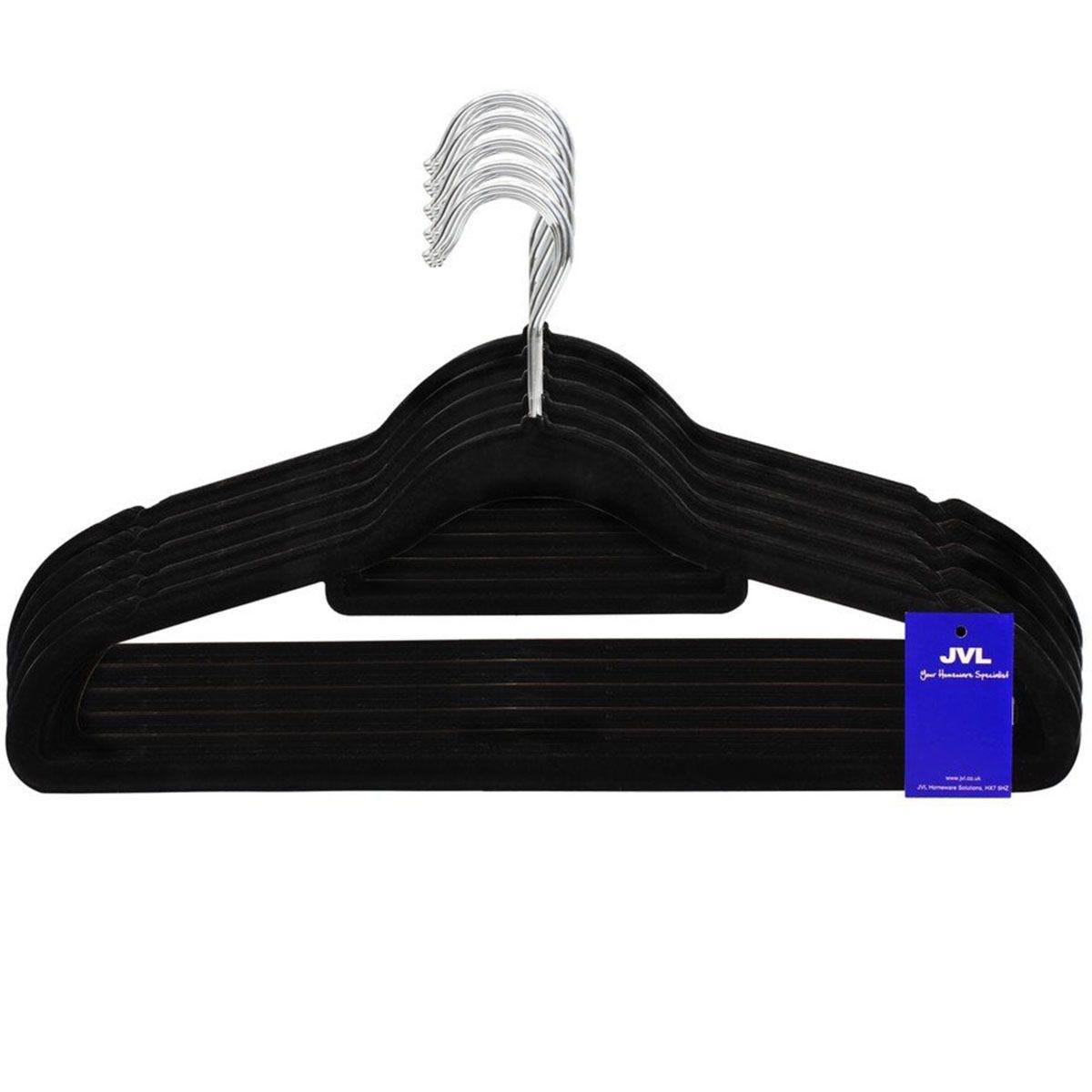 JVL Black Velvet Touch Non-Slip Medium Coat Hangers - Pack of 50