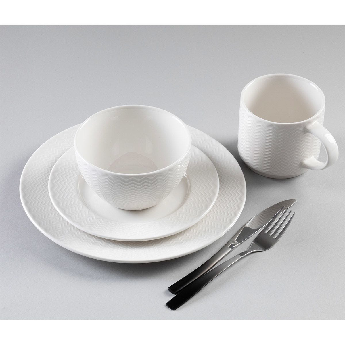 Carnaby Argyle 16-Piece Embossed White Dinner Set
