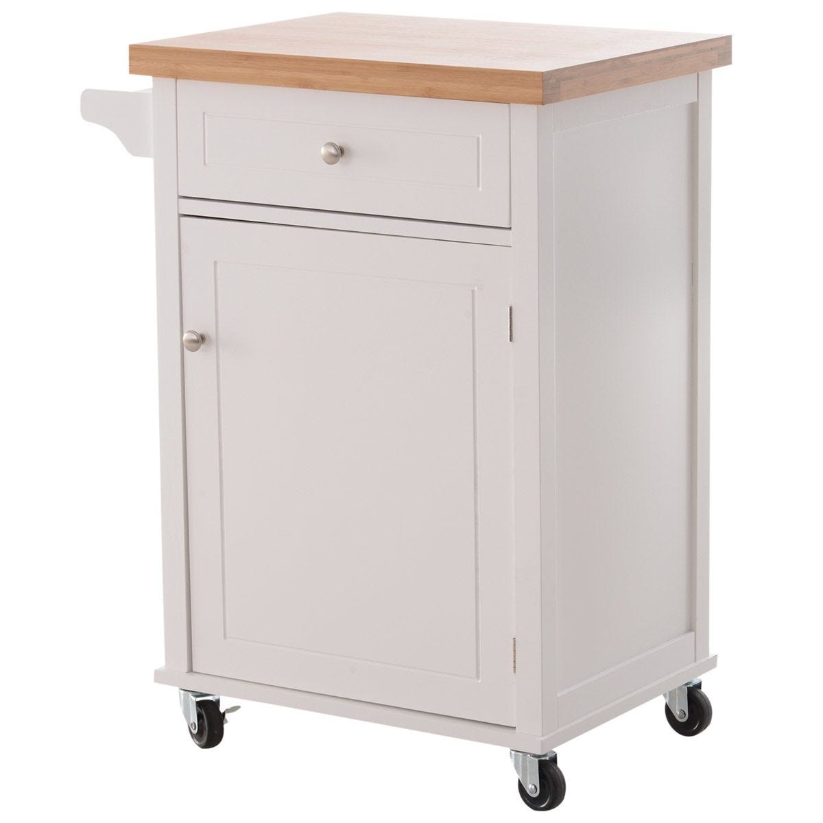 Kitchen Cart Storage Trolley with Drawer, Cupboard and Towel Rail - White