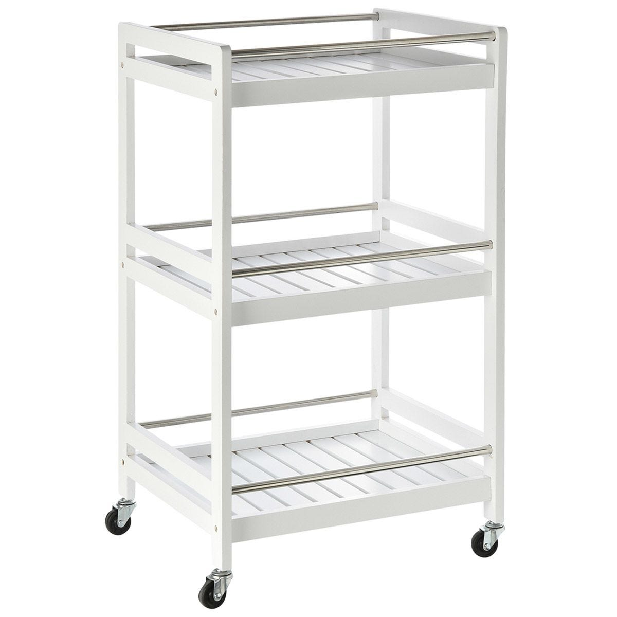 Pine Wood 3-Tier Kitchen Trolley - White