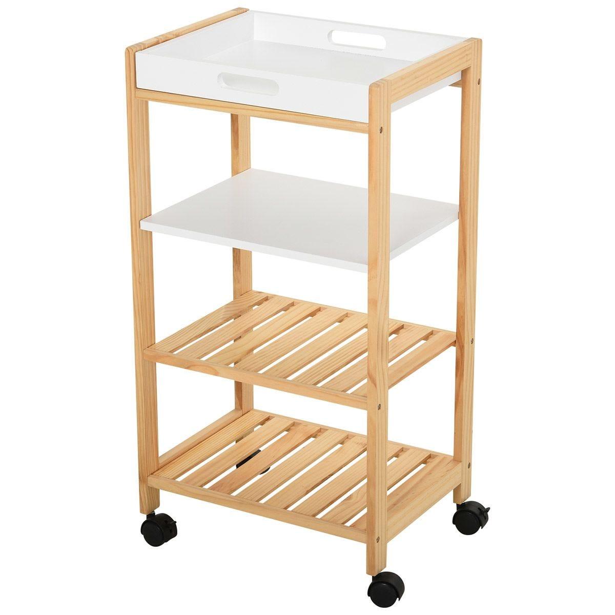 Pine Wood 4-Tier Kitchen Trolley - White