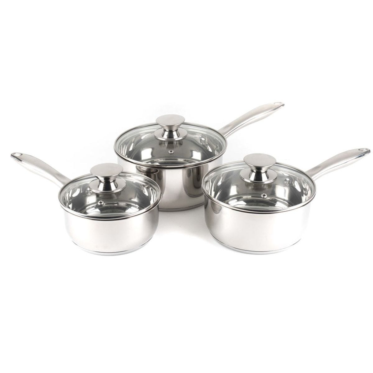 Russell Hobbs 3-Piece Classic Collection Saucepan Set - Silver