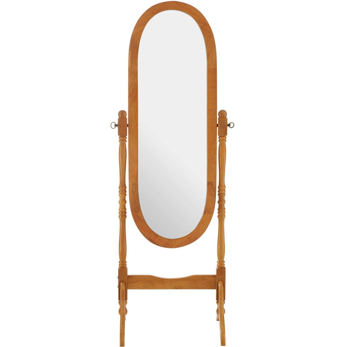 Premier Housewares Oval Cheval Mirror with Oak Finish Frame
