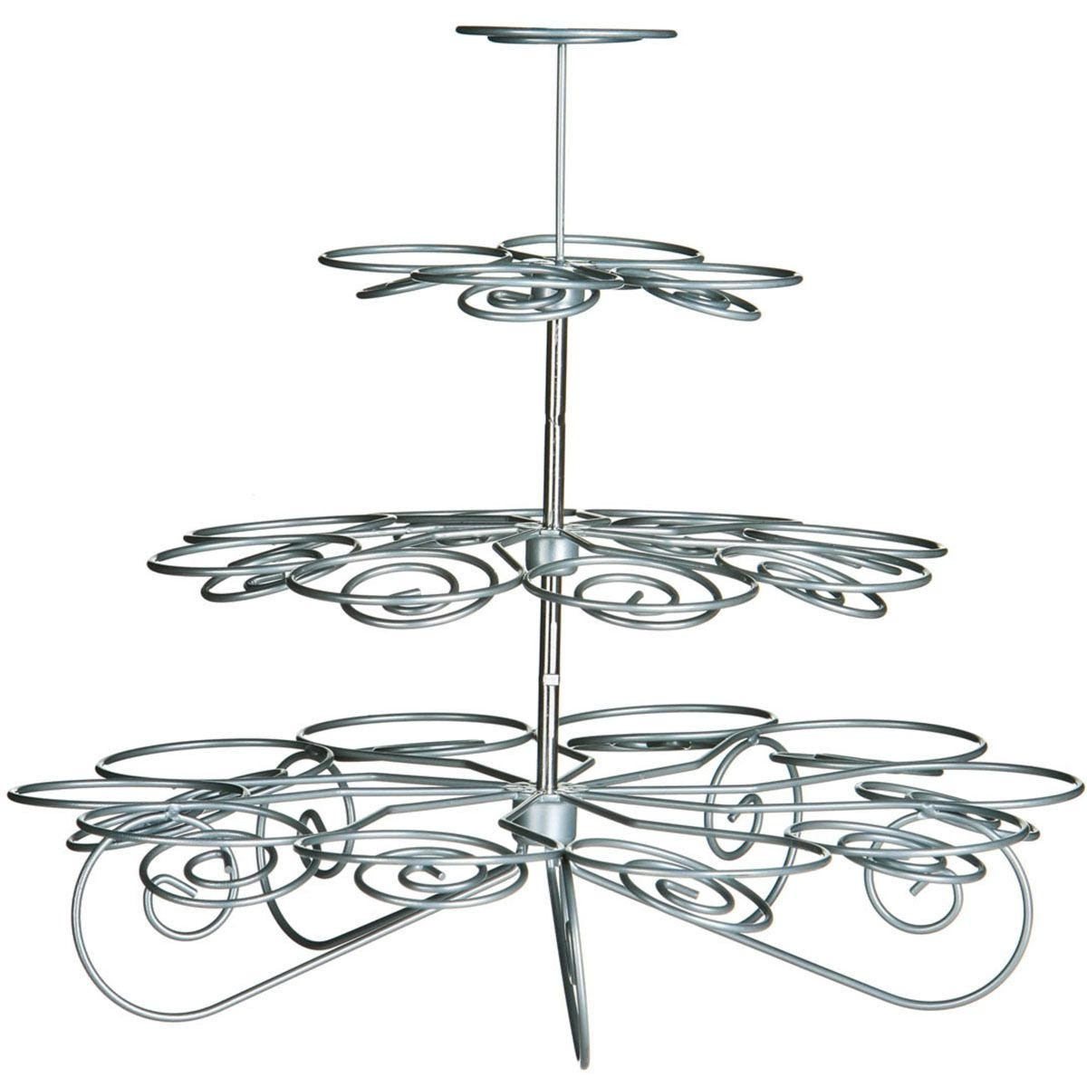 Premier Housewares 4 Tier Cupcake Stand - Silver